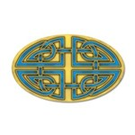 Celtic Blue-Gold Knotwork 22x14 Oval Wall Peel
