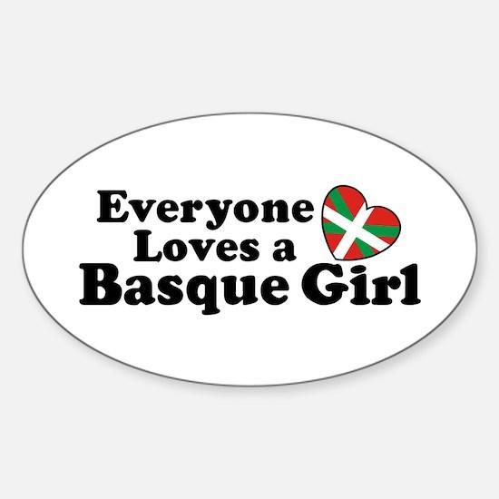 Everyone Loves a Basque Girl Sticker (Oval)