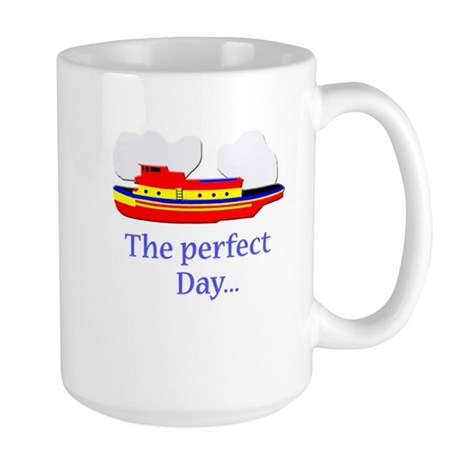 funny tugboat ship Large Mug