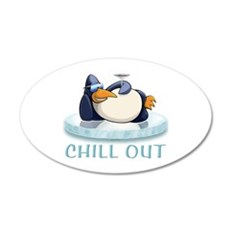 Chill Out Penguin 22x14 Oval Wall Peel