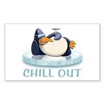 Chill Out Penguin Sticker (Rectangle 50 pk)
