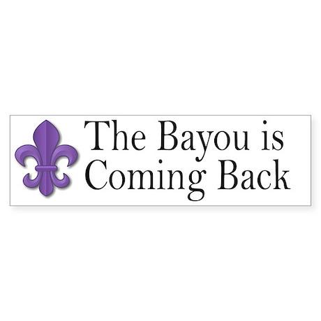 Bayou's Back - Purple Bumper Sticker