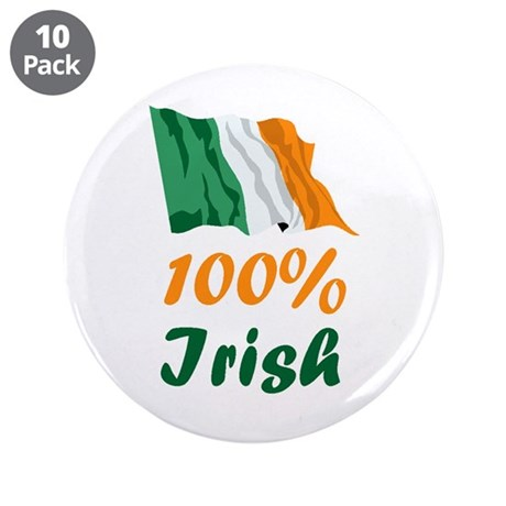 "100% Irish St. Patrick's Day 3.5"" Button (10 pack)"