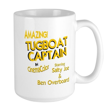 funny tugboat captain Large Mug