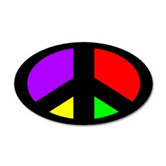 Multicolored Peace Sign Oval Wall Decal