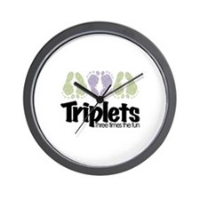 Triplets (unisex) Three Times Wall Clock