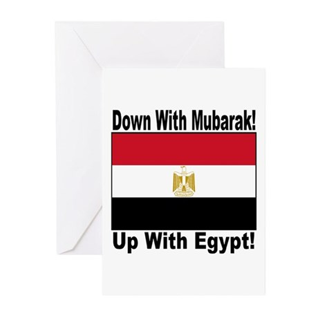 Down With Mubarak Up With Egypt Greeting Cards (Pk