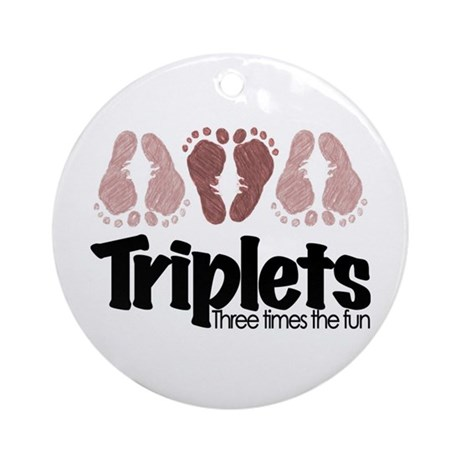Triplet Girls - More Fun! Ornament (Round)
