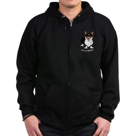 Tri-Colored Corgi Zip Hoodie (dark)