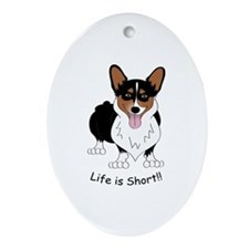 Tri-Colored Corgi Ornament (Oval)