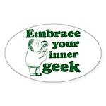 Embrace Your Inner Geek Oval Sticker