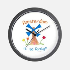 Amsterdam is so Foreign Wall Clock