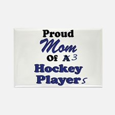 Mom 3 Hockey Players Rectangle Magnet