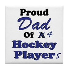 Dad 4 Hockey Players Tile Coaster