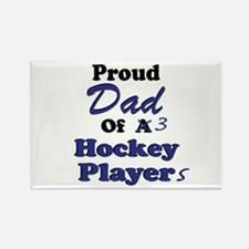 Dad 3 Hockey Players Rectangle Magnet