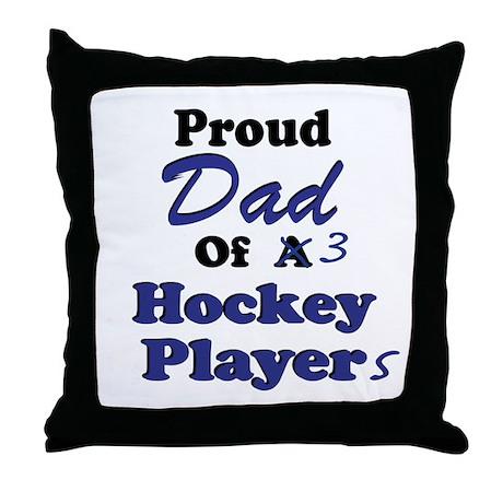 Dad 3 Hockey Players Throw Pillow