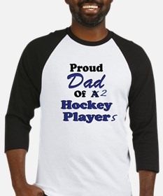 Dad 2 Hockey Players Baseball Jersey