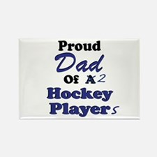 Dad 2 Hockey Players Rectangle Magnet