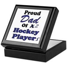 Dad 2 Hockey Players Keepsake Box