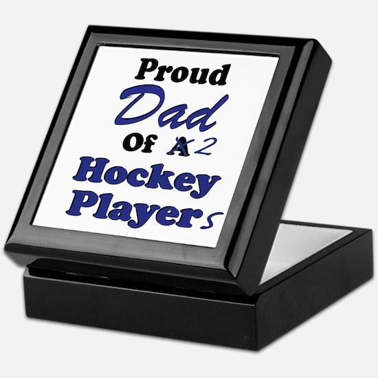 Dad 2 Hockey Players Keepsake Box