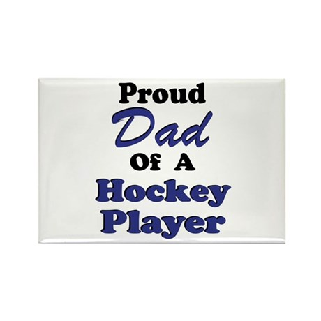 Dad Hockey Player Rectangle Magnet