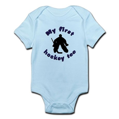 First Hockey Tee (blue text) Infant Bodysuit