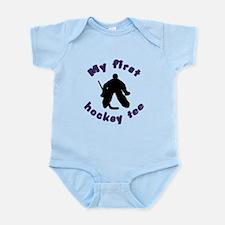 First Hockey Tee (purple text) Infant Bodysuit