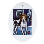 AMERICAN FOXHOUND smiling moo Oval Ornament