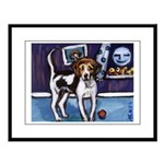 AMERICAN FOXHOUND smiling moo Large Framed Print