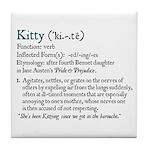 Jane Austen Kitty Definition Tile Coaster
