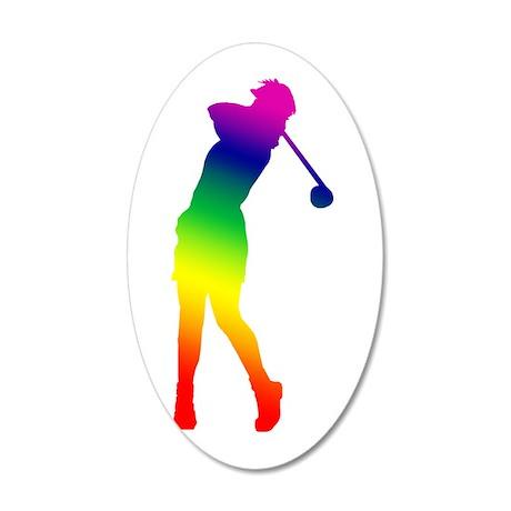 Golfer 38.5 x 24.5 Oval Wall Peel