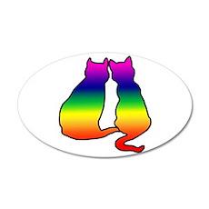 Cats in Love 38.5 x 24.5 Oval Wall Peel