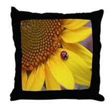 Ladybugs on Flowers Throw Pillow
