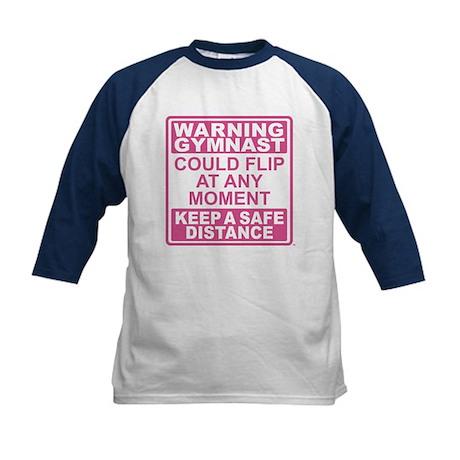 Warning Gymnast Flip Kids Baseball Jersey