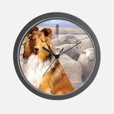 Shelty with Sheep Wall Clock