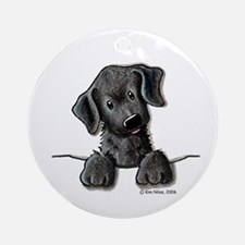PoCKeT Black Lab Puppy Ornament (Round)