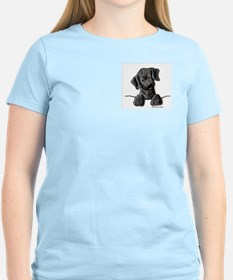 PoCKeT Black Lab Puppy Women's Pink T-Shirt