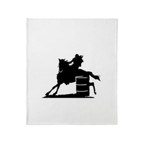 barrel racing silhouette Throw Blanket