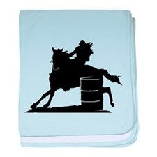 barrel racing silhouette baby blanket