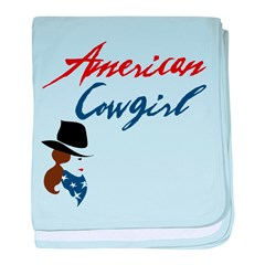 USA Cowgirl baby blanket