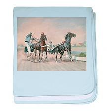 Funny Horse racing baby blanket