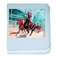 Cute Horse racing baby blanket