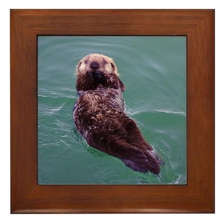 Cute Sea Otter Pup Framed Tile