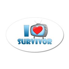 I Heart Survivor 38.5 x 24.5 Oval Wall Peel