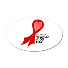 World AIDS Day Red Ribbon 22x14 Oval Wall Peel