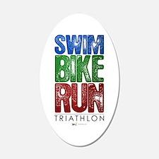 Swim, Bike, Run - Triathlon 22x14 Oval Wall Peel