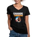 Recalculating Obama Women's V-Neck Dark T-Shirt