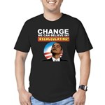 Recalculating Obama Men's Fitted T-Shirt (dark)