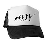 Evolution of man fishing Trucker Hats