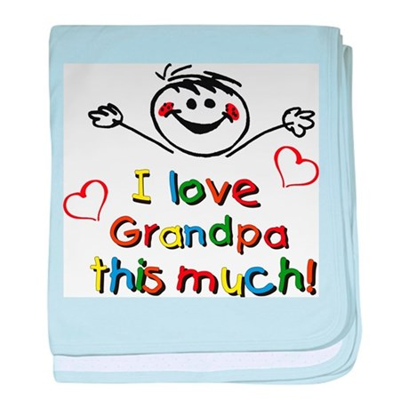 I Love Grandpa (boy) baby blanket